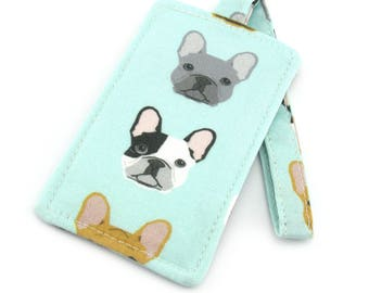 French Bulldog on Mint Fabric Travel Luggage Tag - Bag Tag - Travel Accessories - Gift for Traveler - Fun Gift