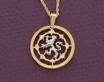 """Scottish Lion Pendant and Necklace,  One Pound (Scottish Issue) Coin Hand Cut, 14 K Gold and Rhodium plated,7/8"""" in Diameter, ( # 577 )"""
