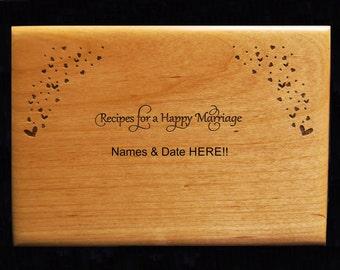 Custom, Personalized, Birds, Hearts, Recipe Box, Wood Recipe Box, Engraved Recipe Box