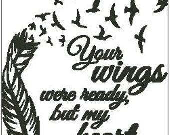 Your Wings Were Ready Cross Stitch Chart - Feather with Birds