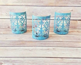 Rustic Candle Holders   Turquoise Candle Holders   Farmhouse Home Decor   Rustic Wedding Decor   Vintage Chic Candle Holders