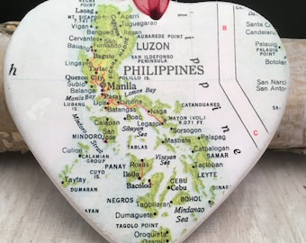 PHILIPPINES Christmas Ornament, Your Special Place in the Heart / HONEYMOON Gift / Wedding Map Gift / Travel Tree Ornament /