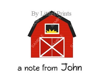 Red Barn Farm Note Cards Set of 10 personalized flat or folded cards