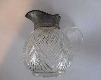 Cut Glass  Syrup Pitcher with  Metal top ~ Syrup Pitcher  with Original  Metal Top