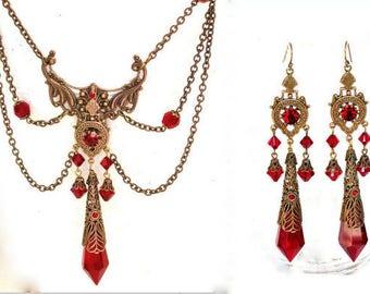 Red Victorian Gothic Jewelry Set Swarovski Crystals Necklace Earrings - Victorian Gothic Jewelry