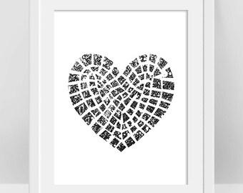 Black Heart Poster, Μosaic Heart Design, Geometric Heart Art, Broken Heart Image, Black and White Decor, Teen Art, Anti Valentines Day Decor