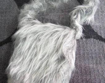 1960's Furry Gray Grey Cappelli Purse Fuzzy Shaggy Shoulder Bag - NEW