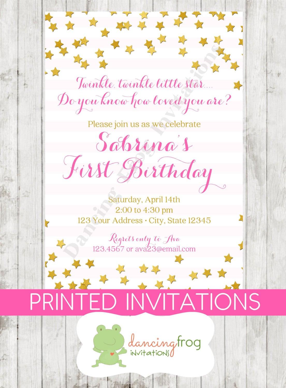 Twinkle Twinkle Little Star Birthday Invitation Printed