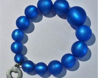 Polaris capri blue and 19cm heart charm bracelet