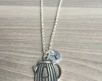 KIDS SIZE - Coffee pot initial necklace, coffee jewelry, gift for coffee lover, coffee necklace, coffee maker necklace, silver coffee