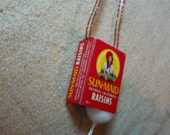 Mouse in a Sun-Maid Raisins Box Christmas Ornament