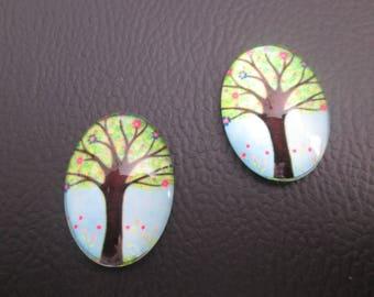 2 cabochons glass 25 x 18 mm tree of life print # 2