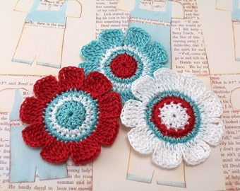 Crochet Flower Appliques in Red Aqua White