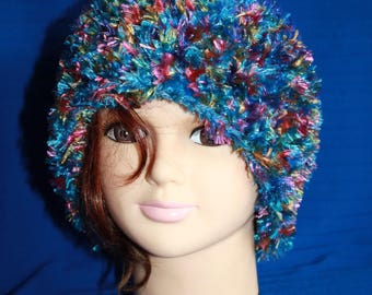 Blue and multicolored fancy yarn and wool very warm hat