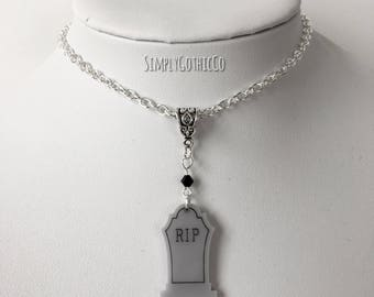 Gothic Grey Tombstone Necklace