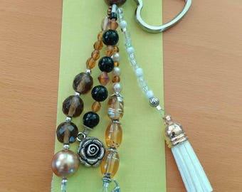 Beaded amber dog lover keychain