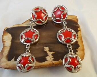 Red  Silvertone Star  Long Drop Dangle Earrings