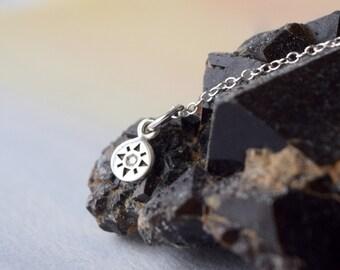 Tiny Compass rose necklace / Genuine diamond jewelry / Compass charm / Nautical compass / Minimal lifestyle / Dainty jewelry trend