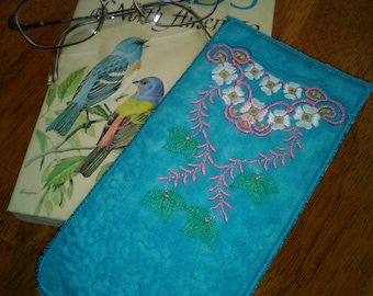 Eyeglass cases. sunglasses case, embroidered eyeglass case, eyewear accessories, quilted eyeglass case,  soft glasses case