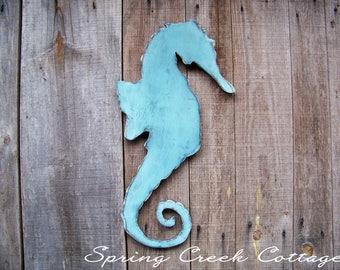 Coastal Decor, Unique Seahorse, Wooden Seahorse,  Cottage Decor, Sea Side Decor, Handpainted, Nautical, Wall Decor, Rustic Wood Cutout,