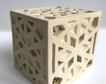 SALE!! 60% OFF- Ceramic Cube Geometric Sculpture-Lantern- Lace