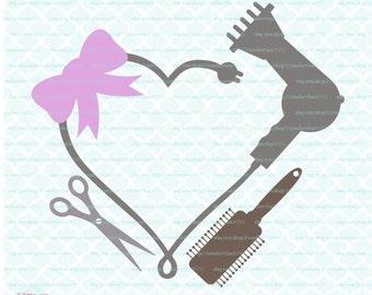 Blowdryer svg Blowdryer Monogram Frame svg Hairdresser svg Hair Dresser svg Hair Stylist svg Hairstylist svg Hair svg dxf eps jpg svg files