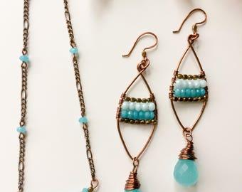 Blue Chalcedony Quartz faceted teardrop Copper Chain Choker Necklace