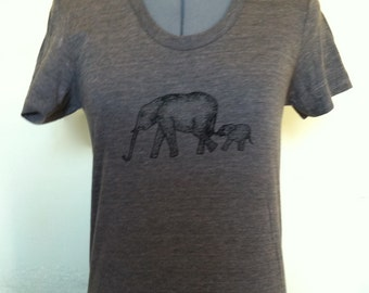 Elephant T Shirt Womens Slim Fit Tricoffee Sizes Small through XLarge
