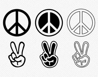 Peace Sign svg, Peace Sign Silhouette, Peace Sign Clipart, Peace Sign Vector, Peace Finger, Clipart, Cut, cricut , svg, dxf, eps, png