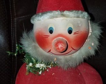 Vintage Flocked Santa Bobble Head Candy Container