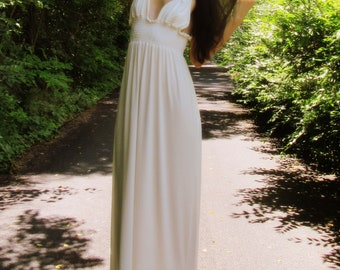 love to love you - ivory organic bamboo bohemian romantic soft wedding festival maxi dress xs small