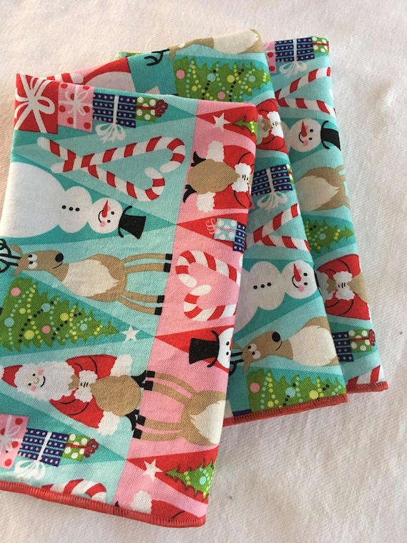 Holiday Red and Pink Santa, Snowman and Reindeer All Cotton Cloth Lunch Box Napkin 12x15 in Size by Smartkin