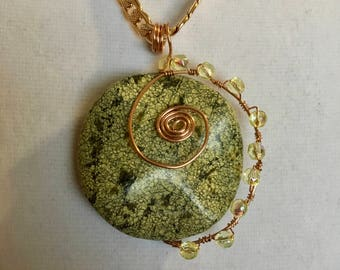 Green stone with copper swirl necklace