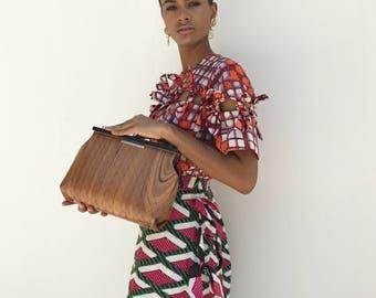 bag eco friendly, vegan purse, true wood bag Organic bag in Wood