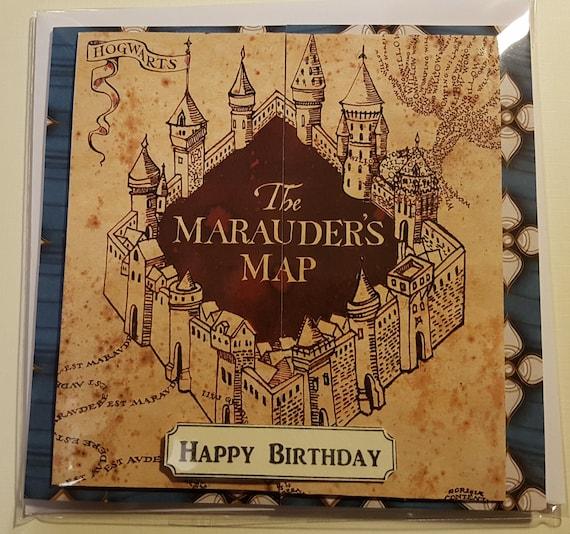 Handmade Harry Potter Inspired The Marauders Map Birthday Card
