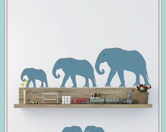 FREE SHIPPING Wall Decal  11 Blue Elephants. Nursery Wall Decal. Diy Wall Decal. Wall Paper. Wall sticker, Wall Art. Kids Wall Decal