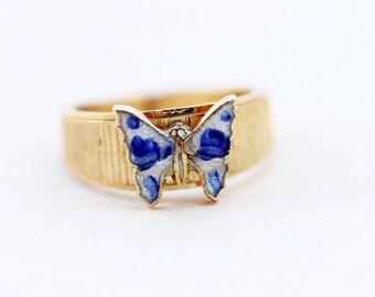 Butterfly Ring Enamel, Blue Butterfly Ring, Enamel Ring