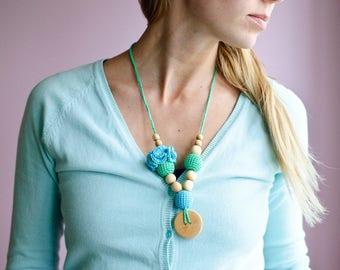 Mint & Blue Flower Mama Nursing Necklace / Teething Necklace / Breastfeeding Mom Necklace or Babywearing Accessories - Kangaroo Care Europe