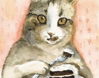 Just Desserts - Cat Watercolor Art- Archival print
