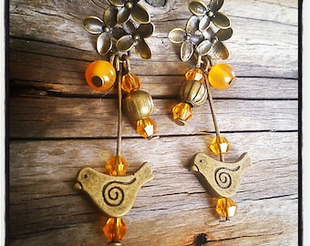 Bronze Flower Earrings / birds and orange glass beads