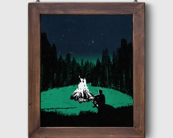 "Screen Printed ""The Great Outdoors - Campfire"" Dusk Poster Art Adventure Screen Print by Or8 Design"