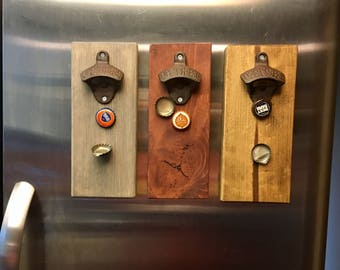 Magnetic Cast Iron Bottle Opener in 3 colors! Great gift for him! Magnetic Bottle Opener! Nice addition to fridge! Iron gift. Cap catcher.