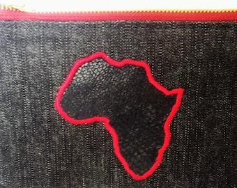 Denim Purse with Africa applique detail - handmade