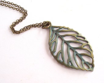 Teal Leaf Necklace, Patina Leaf Pendant Necklace, Antiqued Brass Cutout Leaf Pendant Necklace, Fall Jewelry, Leaf Jewelry, Layering Necklace