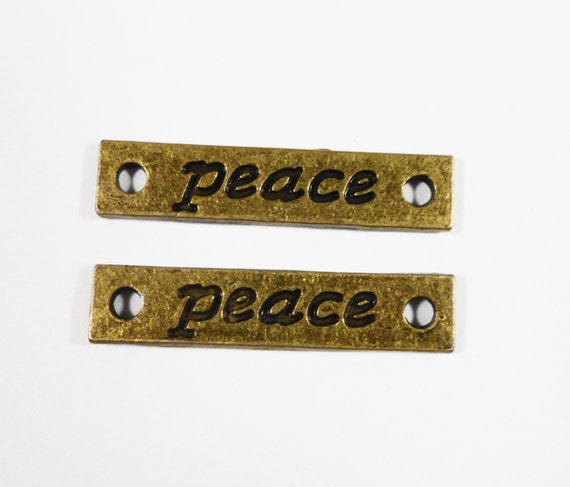 Bronze Peace Connector Charms 30x5mm Antique Brass Rectangle Bracelet Connectors, Necklace Connector Pendants, Jewelry Findings, 10pc