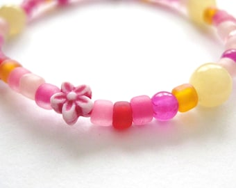 Girls Bracelet Pink Flowers and Yellow Jade, Beaded, Small, GBS 114