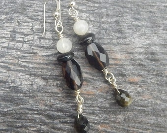Smoky Quartz and Sterling Silver Earrings with Rainbow Moonstone and Obsidian - Semiprecious Stone and Sterling Silver Dangles