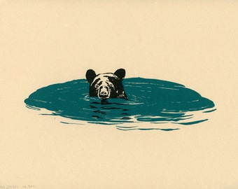 Limited edition print: Swimming Black Bear