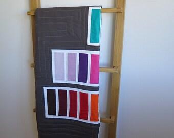 Modern quilt, play mat, toddler quilt, red blue green pink