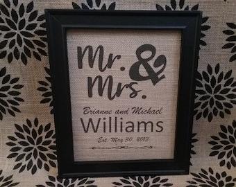 Mr & Mrs Burlap Sign
